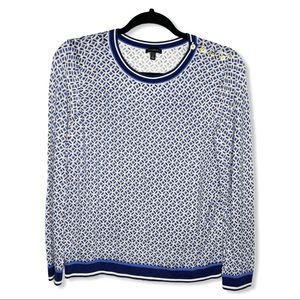 TALBOTS / blue white patterned lightweight sweater